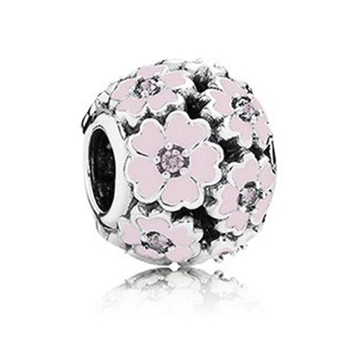 Primrose silver charm cubic zirconia and light pink enamel sterling silver charm #Handmade #European