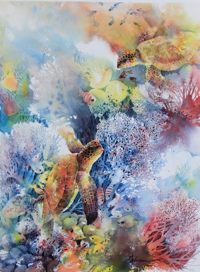 Lian Quan Zhen: 'Sea Turtles', watercolour