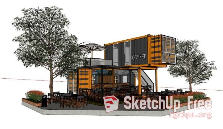 1034 Exteriors Coffee Container Sketchup Model By Le Hoang Danh