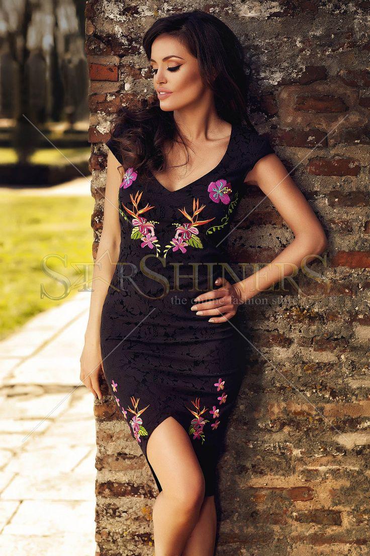 StarShinerS Embroidered Phatos Black Dress