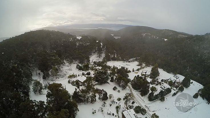 The foothills of Mt Wellington / kunanyi, covered in snow.