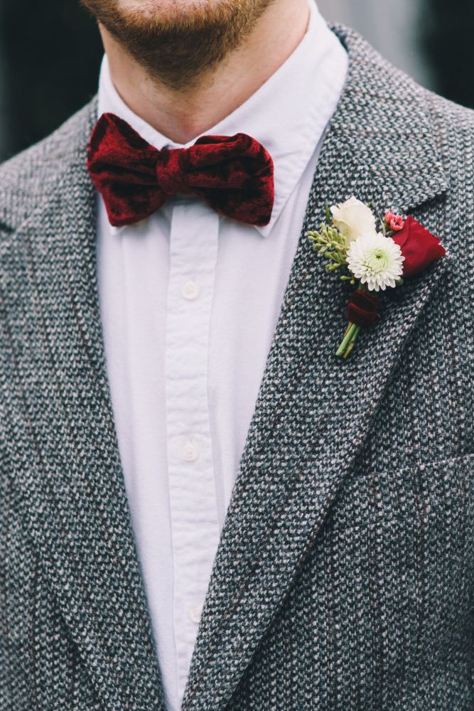 Fall groom? You can't go wrong with a velvet bow tie.
