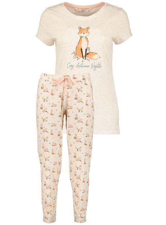 Toddler Baby Boys Fox Print Tops Shirt Pants Home Pajamas Outfit Clothes Set
