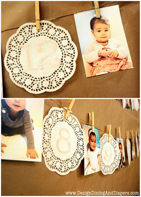 Shabby Chic First Birthday Party - So cute!. Do blue circles for the month numbers for baby L