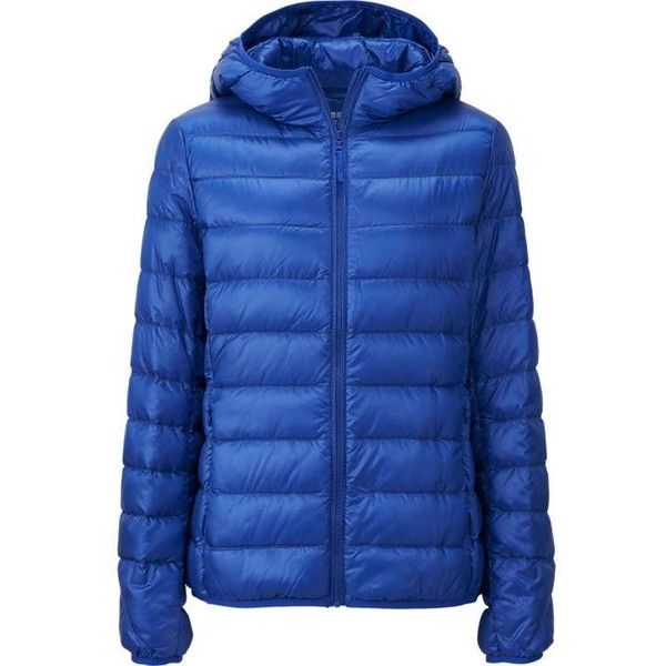 UNIQLO Ultra Light Down Parka (The Water Defender) (1 215 ZAR) ❤ liked on Polyvore featuring outerwear, coats, down jacket, blue down jacket, blue parka, hooded coats and lightweight parka