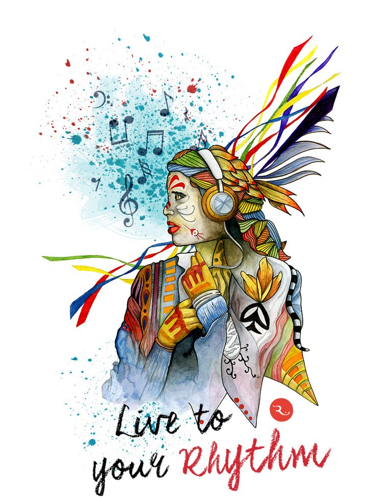 Rhythm  Music, illustration, watercolor, ink, notes, colors, headphones, girl, woman, hippy