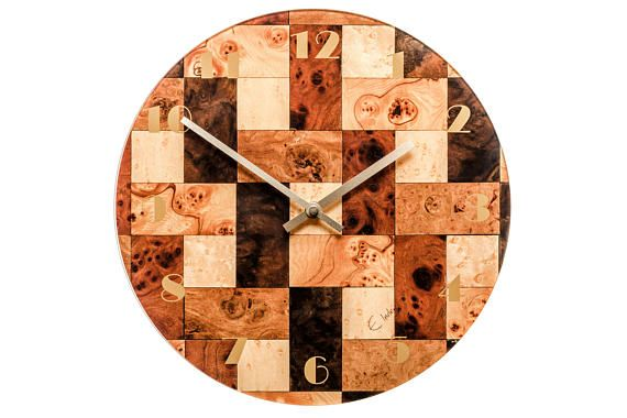 Brown Wall Clock Brown Cream Wall Clock Kitchen clock Melamine