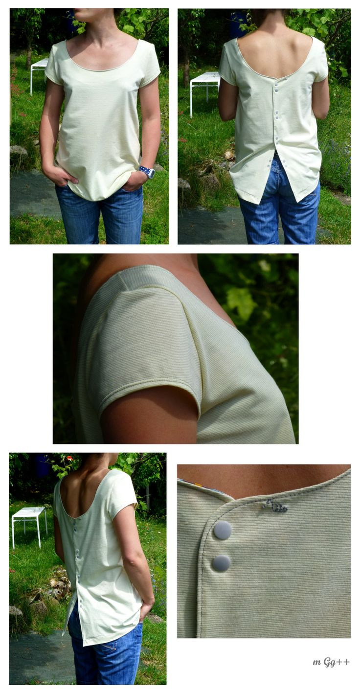 Tee-shirt à manche courte et patte de boutonnage dans le dos (Patron maison) par m Gg++