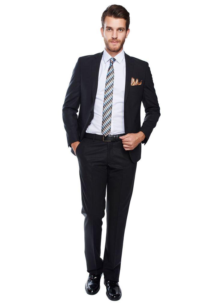 Slim Fit Kareli Siyah Takım Elbise - Altınyıldız Classics