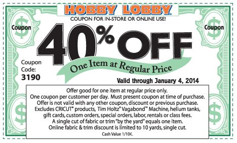 Pinned December 30th: 40% off a single item at #Hobby #Lobby, or online via promo code 4499 #coupon via The Coupons App