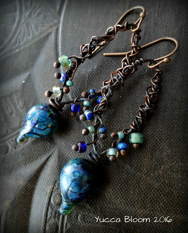 lampwork glass lampwork headpins primitive organic rustic earthy blue glass