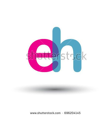 initial logo EH lowercase letter, blue and pink overlap transparent logo, modern and simple logo design.