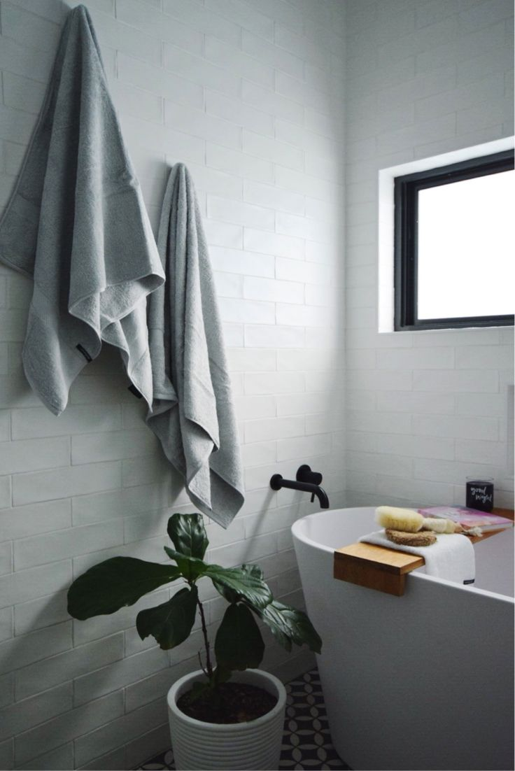Black and white bathroom walls - Check Out These Contemporary Bathroom Styling Ideas Including Using Towels To Add Dimension Colour