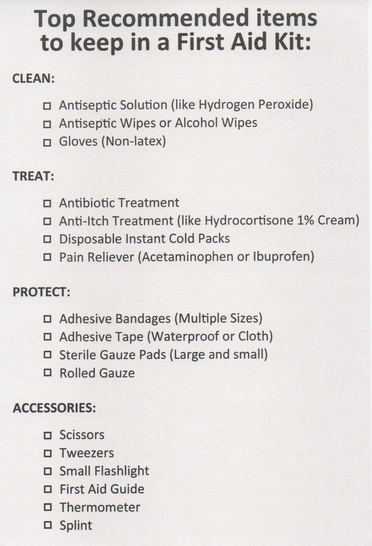 A printable checklist for the top recommended items to keep in a First Aid Kit.