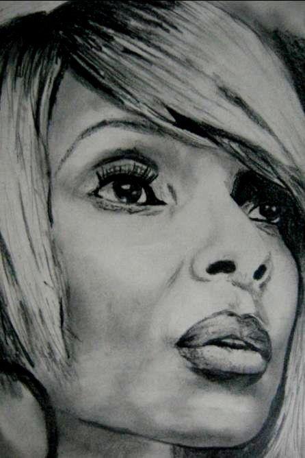 Mary J pencil portrait