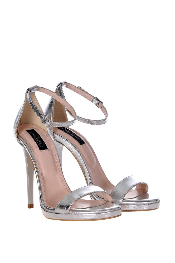 Silver sandals natural leather elegant with high heels, high heels
