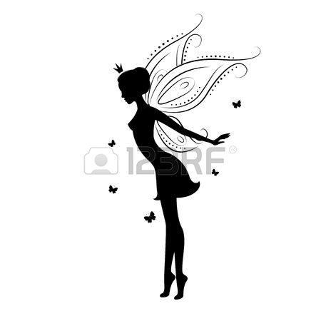 Belle silhouette de f e banque d 39 images toiles et - Pochoir mural fee ...