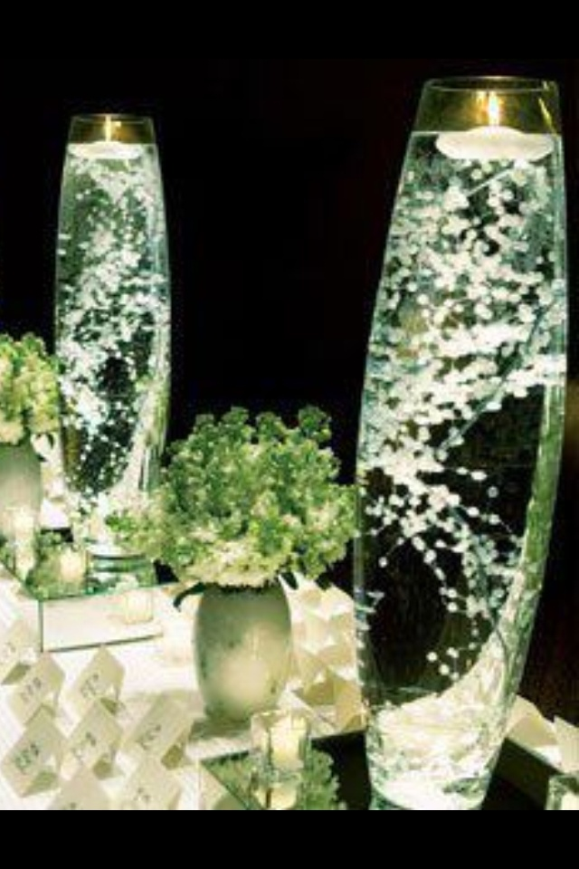 Baby s breath with floating candle bloomers pinterest