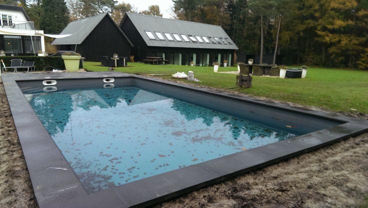 Oud hollandse schellevis tegels en zwembadrand om zwembad voor een stuk eenheid tuinaanleg - Kleine ijdelheid eenheid ...