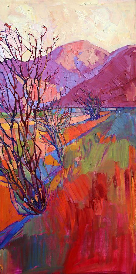 Ocotillo Triptych - Right Panel Painting by Erin Hanson