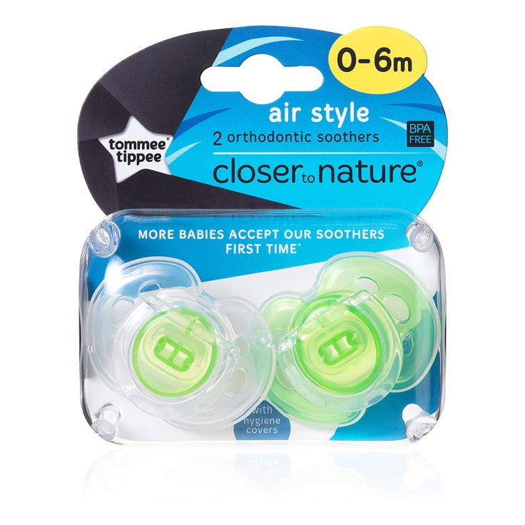 Tommee Tippee Closer To Nature Air Style Soother, Green (2pk)