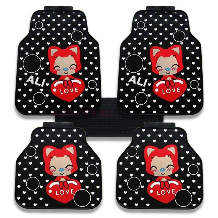15532 peach ali car floor mats rubber 5pcs sets black
