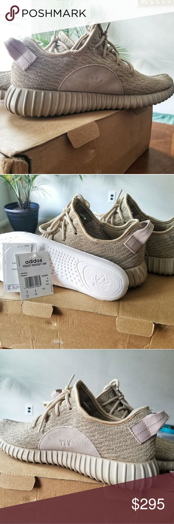Yeezy 350 Boost Oxford Tan (US 9.5) Lightly Used Oxford Tan yeezys 350 with little wear to the bottom souls but everywhere else is in mint condition(no scuffs, holes or stains). I taped up the logo on the insoles so I wouldn't wear out the font. I have original box & tags but no Receipt as these were a gift. I know they're  used so I can work with price. Very excellent used condition. No trades. If you like something, please use the offer button, I may not respond to offers in comments. I…