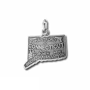 Sterling Silver Connecticut State Charm
