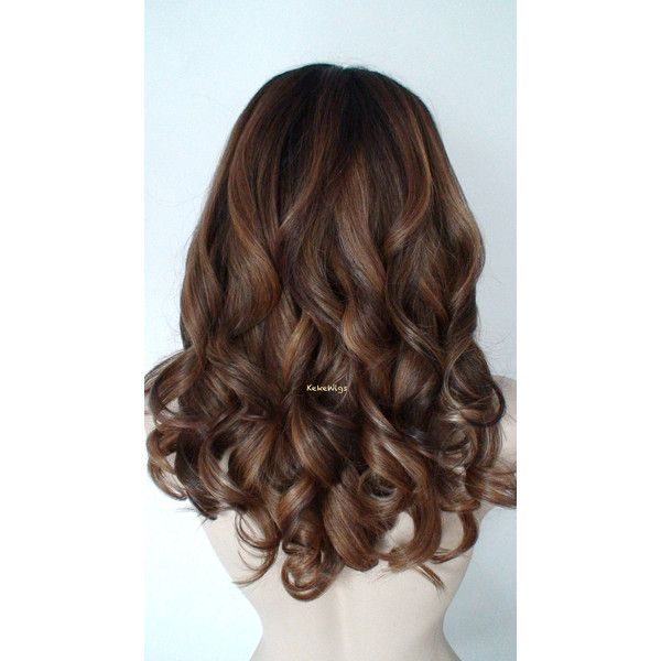 Lace Front Wig Ombre Wig Brown Auburn Ash Blonde Ombre Wig Durable... ($200) ❤ liked on Polyvore featuring beauty products, haircare, hair styling tools, wigs, bath & beauty, dark olive and hair care