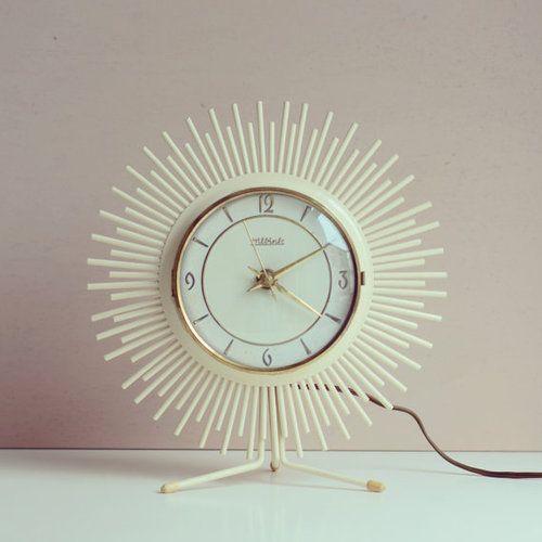 Vintage Sunburst Clock Hilbink   1950s