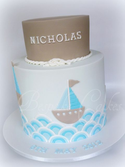 Modern nautical sail boat theme by Bespoke Cakes