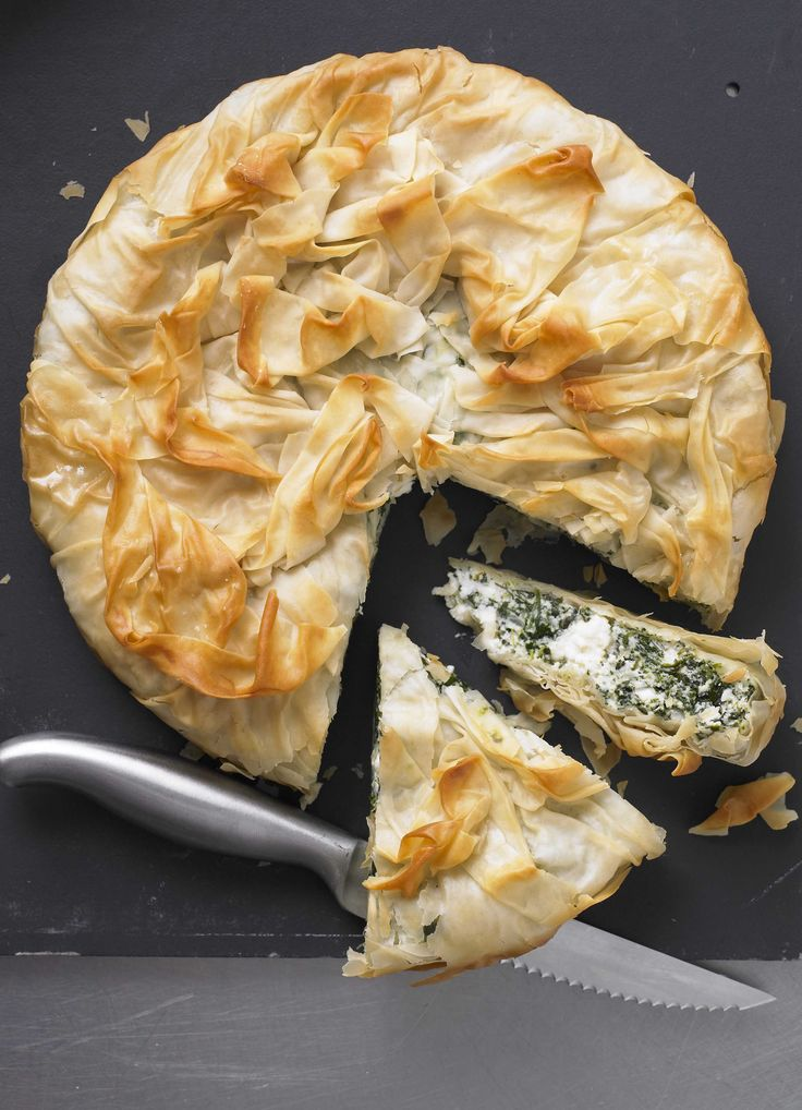 spinach and ricotta filo pie: This spinach and ricotta vegetarian pie made with filo pastry is very light at under 200 calories per slice. Ready in under an hour you can make it ahead and cook it when you need it