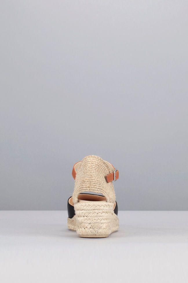 Sandales compensées noires cuir Cisca 4