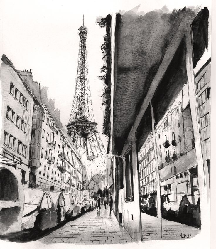 "Signed print - ""Perspective"" - Paris. Black ink and watercolor on paper. By Nicolas Jolly."