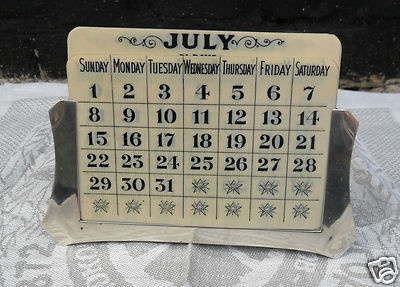 Art Deco Solid Silver Desktop Calendar Hallmarked Birmingham 1945