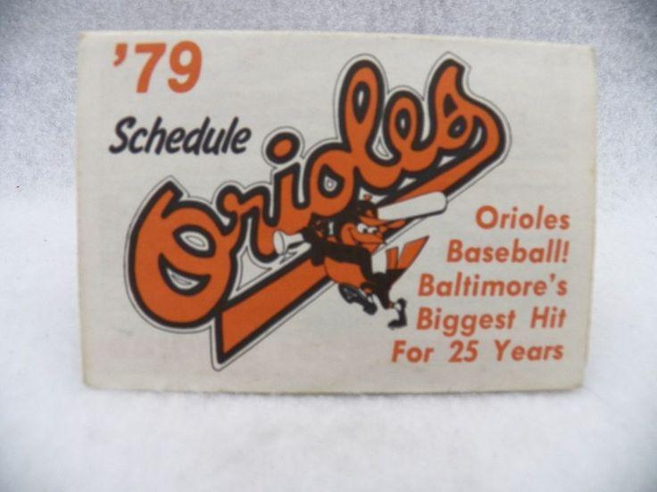 Vintage 1979 Baltimore Orioles Fold Up Baseball Schedule #Orioles