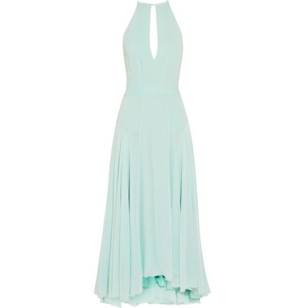 Pre-owned Light Mint Dress ($250) ❤ liked on Polyvore featuring dresses, light mint, loose dress, cutout dress, keyhole maxi dress, cut out maxi dress and draped maxi dress