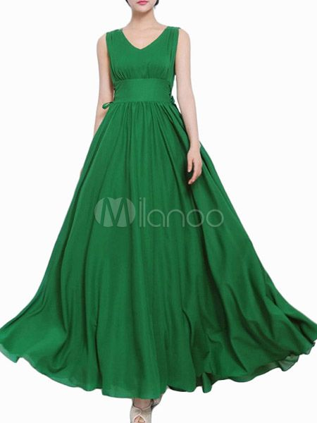 Green V-Neck Pleated Chiffon Maxi Dress