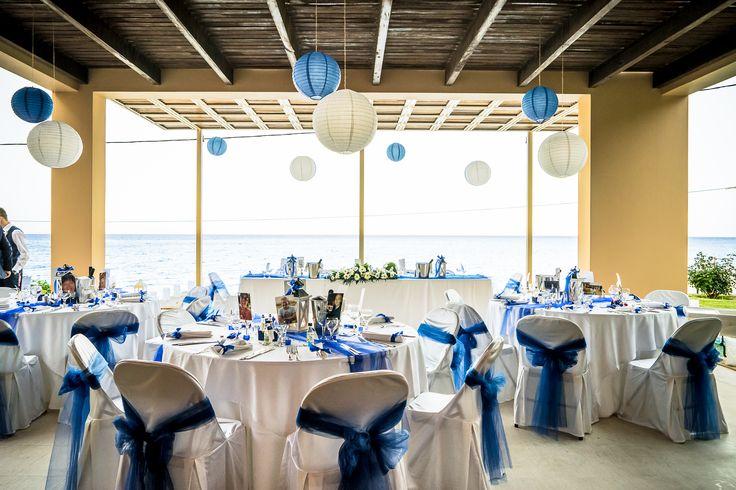 Wonderful reception set up in blue #weddingvenues #eddingingreece #mythosweddings #kefalonia