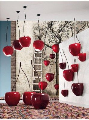 Cherry wall big Sculpture decorazione ciliegia in ceramica adriani & rossi 5 varianti di colore
