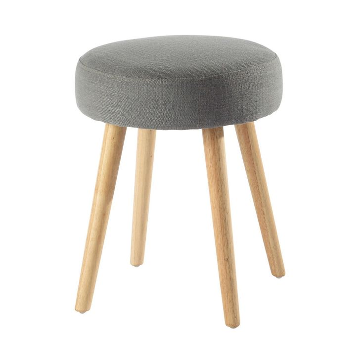 vintage fabric and wood stool in grey | Maisons du Monde