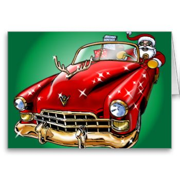 A cute cartoon illustration of Santa Claus carrying gifts in a red magical vintage Cadillac with a gold antler hood ornament! #santa #claus #vintage #cars #cadillac #greeting #cards #gifts #christmas #cartoon #illustration #african #african #american #american #cute