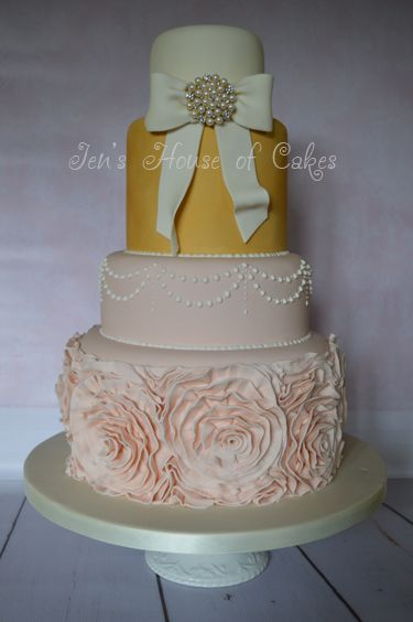Ruffles, Bow & Brooch Wedding Cake