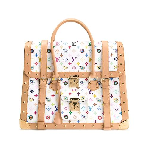 White and multicoloured leather oversized monogram tote from Louis Vuitton Vintage featuring a trapeze body, a monogram print, round top handles, a foldover top with flip-lock closure, buckle fastenings, a gold-tone stud detailing, a hanging key fob, a front flap pocket, gold-tone hardware and an internal slip pocket. Please note that vintage items are not new and therefore might have minor imperfections. Size: OS. Color: White. Gender: Female. Material: Leather.