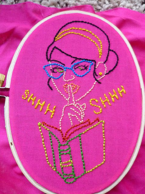Stitching by Carmen Baumann, pattern from:  http://www.sublimestitching.com/products/sexy-librarians-embroidery-patterns
