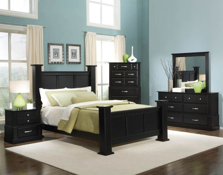 Bold Black Bedroom Furniture With Other Hues Mixture Charming Blue Hard Wood Flooring Design