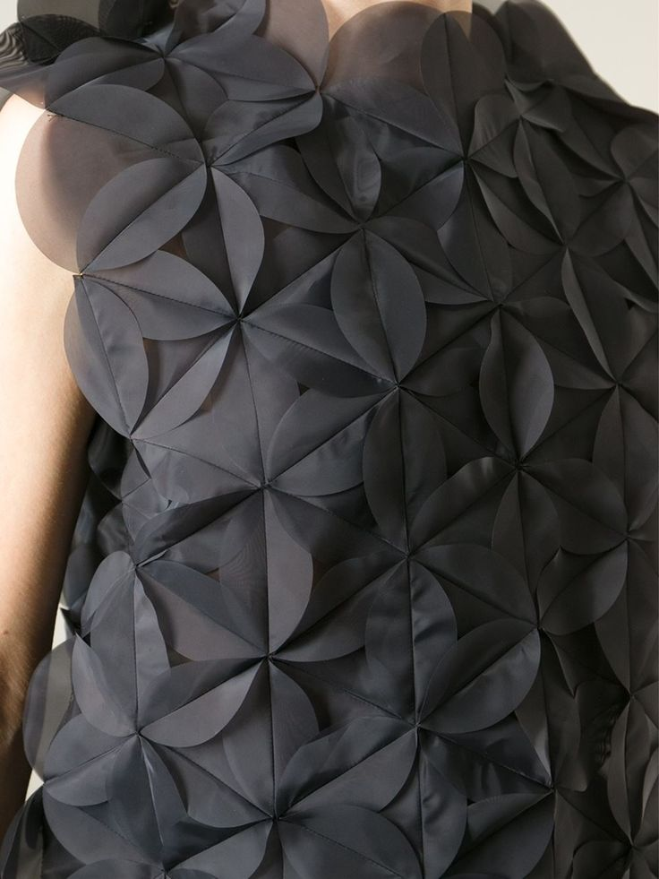 Textured Applique Dress - fabric manipulation; sewing idea; geometric fashion details // Junya Watanabe Comme Des Garcons