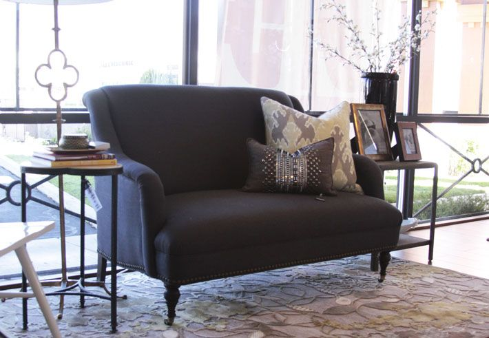 MGBW Odette Sofette (settee, charcoal, linen, Mitchell Gold Bob Williams)
