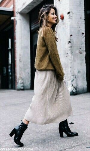 Sweater Knit + Long Skirt + Black Booties/Heels