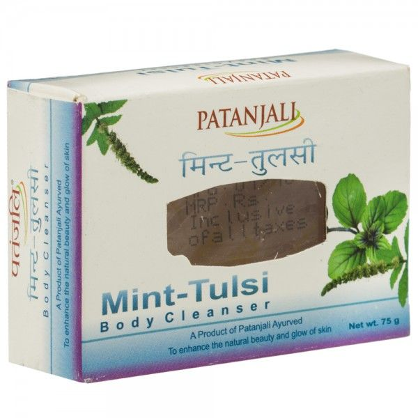 Patanjali Mint Tulsi body cleanser. A product of Patanjali Ayurved to enhance the natural beauty and glow of skin. Ayurvedic proprietary medicine. PATANJALI MINT TULSI 75gm Price Rs.24